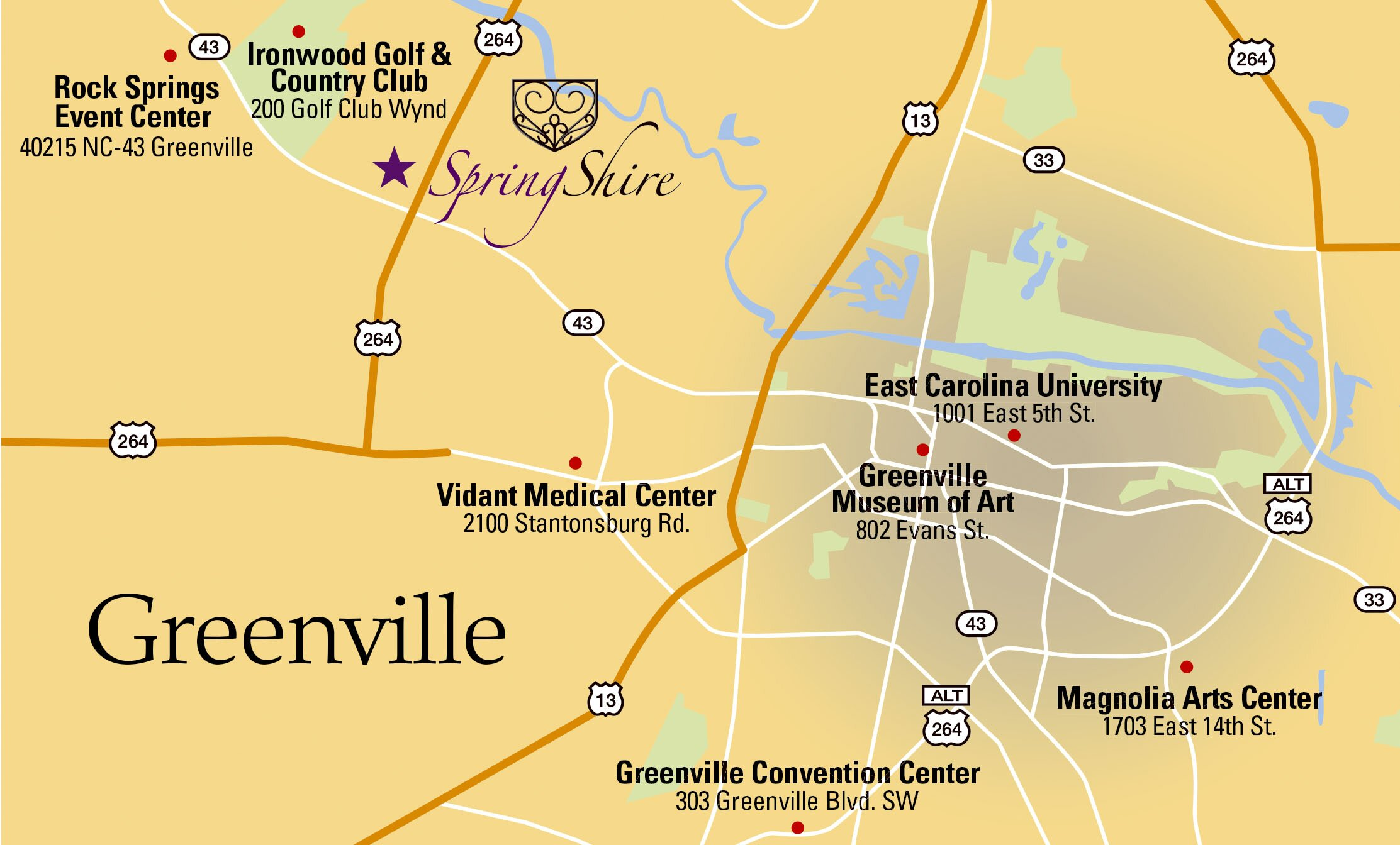 Greenville Nc Map Map & Directions   SpringShire