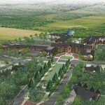 Aerial rendering of SpringShire Retirement Community in Greenville, NC