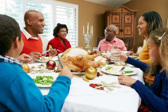 Holiday Dinner with a family: kids, parents and grandparents
