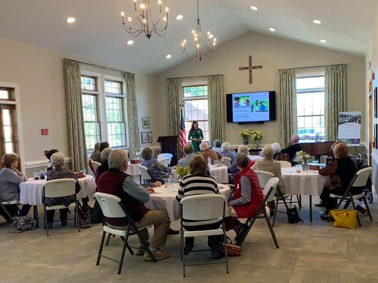 Those interested in SpringShire Retirement Community hear from Sales Associate, Grayson Rattew, at Bath NC event.